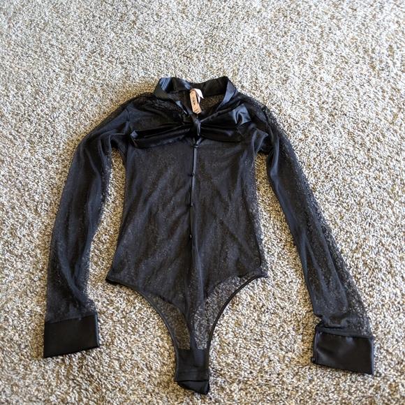 Victoria's Secret Tops - Sheer black vintage button bodysuit